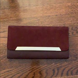 Aldo Suede and leather burgundy clutch